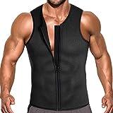 Men Waist Trainer Vest for Weight Loss Hot Neoprene Corset Body Shaper Zipper Sauna Tank Top Workout Shirt (XL, Heather Gray)