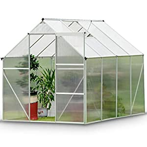 Garden Greenhouse Clear Polycarbonate, Aluminum Frame for Grow Seeds,Seedlings,Potted Plants Flowers,286X216X220CM