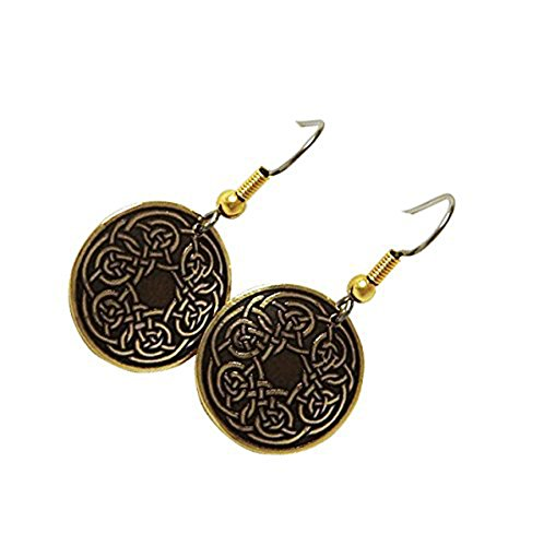Brass Celtic Knot - Handcrafted Etched Brass, Celtic Knot, Round Fashion Drop Earrings, Symbolises Never-Ending Love