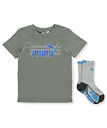 Boys 2Pc T-Shirt & Crew Sock Set, 5, Grey