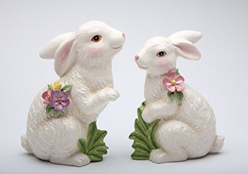 (StealStreet SS-CG-10280, 7.25 Inch Porcelain Painted White Bunny Figurines, Set of 2)