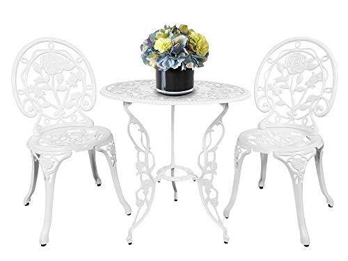 - HOMEFUN Bistro Table Set, White Rose 3 Piece, Outdoor Patio Table and Chairs Furniture, Durable Rust Weather Resistance