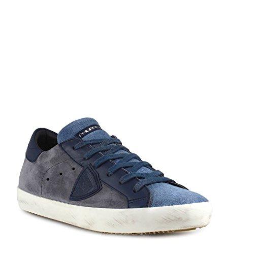 Philippe Model Scarpe da Uomo Sneaker Paris Mixage Grigio Blu Primavera Estate 2018