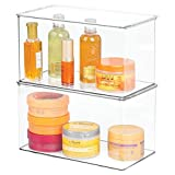 mDesign Long Plastic Stackable Storage Container