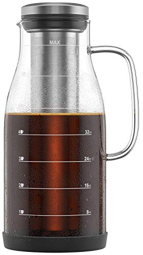 Shanik Cold Brew Iced Coffee Maker/Iced Tea Maker, Measured Glass with Handle and Spout, Stainless Steel Filter and Silicone Base, Easy to Make Fresh Coffee and Clean Up! 48oz