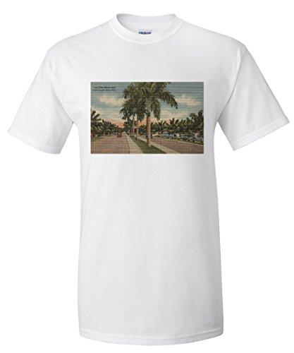 Ft. Lauderdale, Florida - Las Olas Blvd. (White T-Shirt - Los Lauderdale Olas Ft