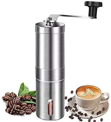 Manual Coffee Grinder Stainless Steel Portable with Adjustable Setting Conical Burr Mill for Aeropress, Drip Coffee, Espresso, French Press Used in Home and Travel