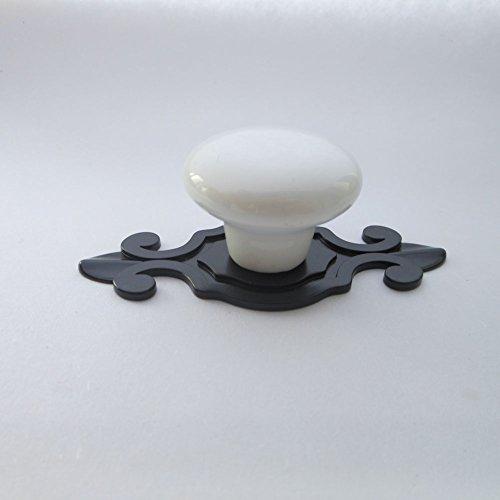 Drawer Knob Plane (Tangpan(TM) 32mm Round Ceramic Knobs Black Zine Alloy Base Cupboard Drawer Ceramic Cabinet Wardrobe Pull Handle Color White Pack of 8)