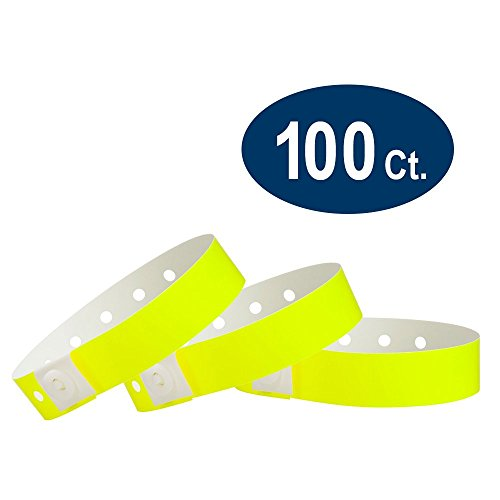 WristCo Neon Yellow Plastic Wristbands - 100 Pack Wristbands For -