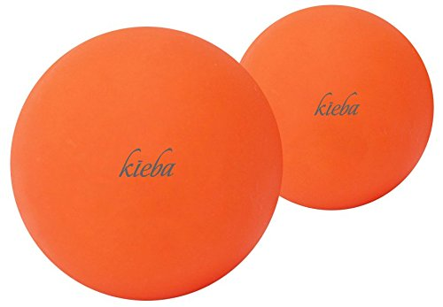 Kieba Massage Lacrosse Balls for Myofascial Release, Trigger Point Therapy, Muscle Knots, and Yoga Therapy. Set of 2 Firm Balls (2 Orange) ()