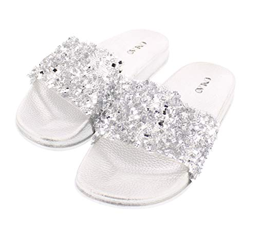 Sanaa Womens Sparkle Slide Sandals Slip On,Glitter, used for sale  Delivered anywhere in USA