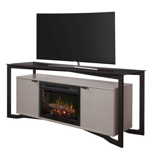 Dimplex Christian 70'' media console electric fireplace with Multi Fire XD logset firebox in silver wave by Dimplex