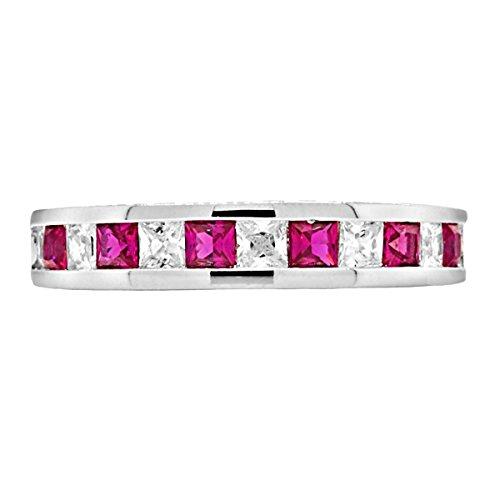 (1000 Jewels Olicia B: 2.2ct Princess Cut Simulated Ruby & IOF CZ Semi-Eternity Wedding Band Silver, 3251 sz 7.0)