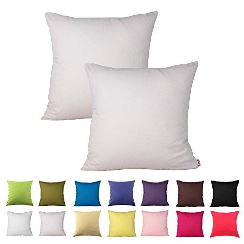 Queenie - 2 Pcs Solid Color Cotton Decorative Pillowcase Cus