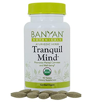 Banyan Botanicals Tranquil Mind - USDA Organic - 90 tablets - Soothes Nervousness & Stress - Supports a Calm Mind*