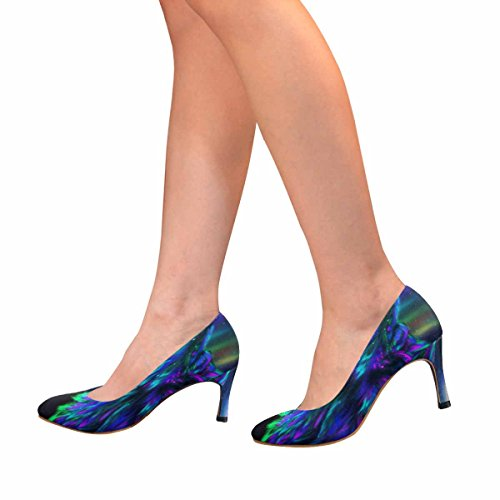 InterestPrint Womens Classic Fashion High Heel Dress Pump Colorful Northern Landscape With Howling Wolf Spirit and Aurora Borealis yTiPhqJ