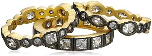 Freida Rothman Radiance Gold-Plated Sterling Silver and Cubic Zirconia Set of 3 Rings