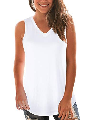 NIASHOT Women's White Tank Tops V-Neck Sleeveless Flowy Summer Camisole Blouse S