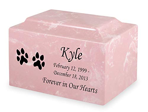 Pink Dog Paw Prints Pet Cremation Urn - Personalized - Cultured Marble - 50 Cubic Inch ()