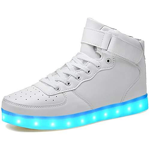 LeKuni Unisex LED Zapatillas (7 Colores ) High Top Niños USB Carga Zapatos Sneakers Zapatos Luminiosos
