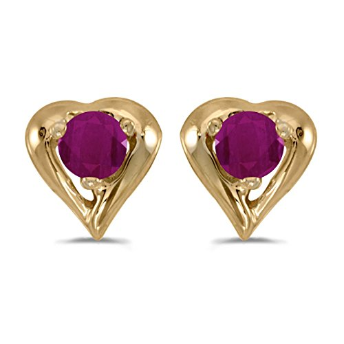 FB Jewels Solid 10k Yellow Gold Studs Genuine Red Birthstone Round Ruby Heart Earrings (1/4 Cttw.) ()