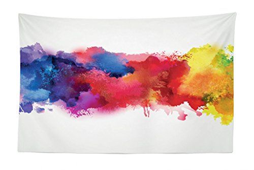 Lunarable Abstract Tapestry, Vibrant Stains of Watercolor Paint Splatters Brushstrokes Dripping Liquid Art, Fabric Wall Hanging Decor for Bedroom Living Room Dorm, 45 W X 30 L Inches, Red Yellow Blue - Bedroom Paint