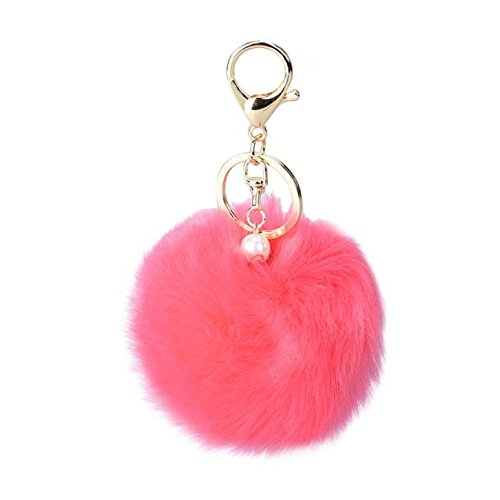 DZT1968® Solid Color Imitate Rabbit Fur Ball Keychain Handbag Key Ring Car Key (Watermelon Red)