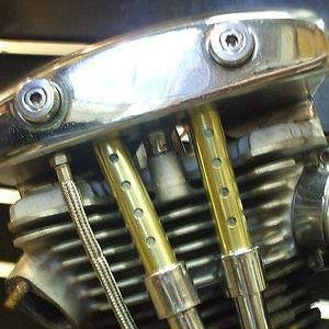 Photo OLD-STF - Harley Brass Keeper Set for 1948-1965 Panhead, 1957-1984 Ironhead Sportster Motors - HOLES - MADE IN THE USA
