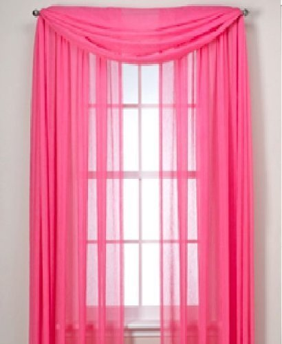 """MONAGIFTS HOT PINK Scarf Voile Window Panel Solid sheer valance curtains 216"""" LONG"""