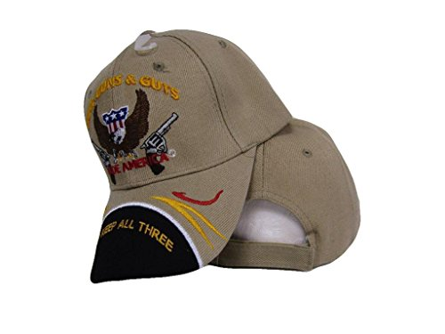 God Guns and Guts Lets Keep All Three Made America Khaki Black Ball Cap Hat Wholesale Cap Guns