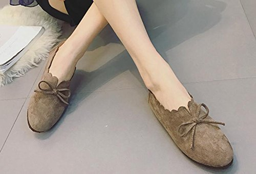 2017 verano nueva zapatos planos redondo retro cabeza salvaje arco zapatos casuales Khaki