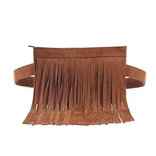 (Fashion Brown Velvet Fringe Tassel Waist Fanny Pack Belt Bag Travel Purse for women )