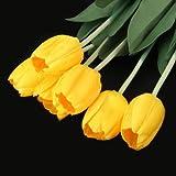 Decorazione della casa GODHL 10pcs Tulip Flower Latex Real Touch sposa tulipano giallo