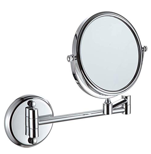 "KAIIY Wall Mounted Makeup Mirror – 5x Magnification 6"" Two-Sided Swivel Extendable Bathroom Cosmetic Mirror Chrome…"