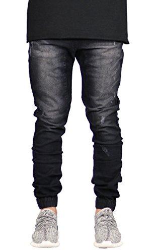 Men's Distressed Slim Fit Drop Crotch Elastic Denim Jogger Jeans Black 30
