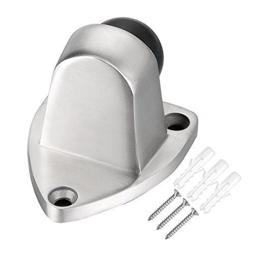 uxcell 304 Stainless Steel Brushed Bathroom Solid Door Stopper Holder Buffer w Screw (Base Solid Stainless Steel)