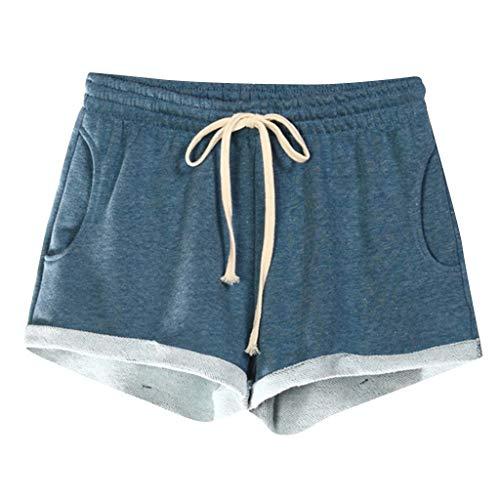 VEZAD Women Casual Solid Pockets Elastic Waist Loose Pajama Shorts Gym Sport Pants ()