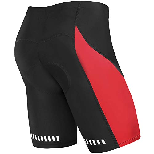 NOOYME Men's Cycling Shorts of Bike with 3D Padded for Bicycle Riding- Red Design Bike Shorts (XL, Red) (Best Dirt Bike For Trail Riding 2019)