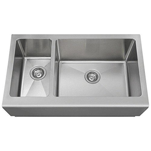 407R 16-Gauge Double Offset Stainless Steel Apron Style Kitchen Sink