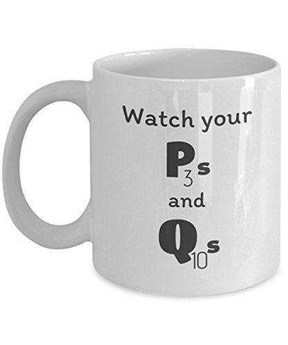 Scrabble Mug - Funny Alphabetic P And Q Coffee Cup