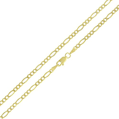 14k Yellow Gold 2mm Hollow Figaro Link Necklace Chain 16