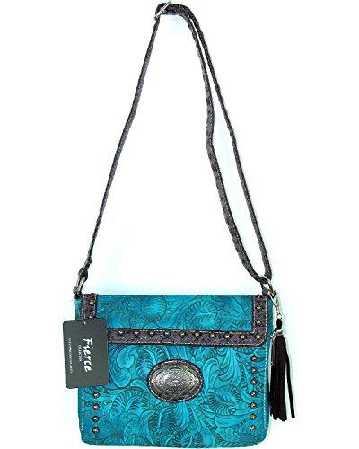 Savana Bag - Savana Women's Fierce Tooled Croco Trim Crossbody Purse Turquoise One Size