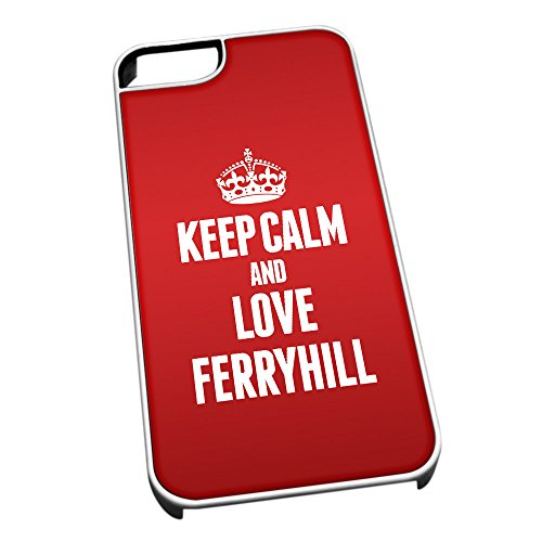 Cover per iPhone 5/5S Bianco 0258Rosso Keep Calm And Love ferryhill