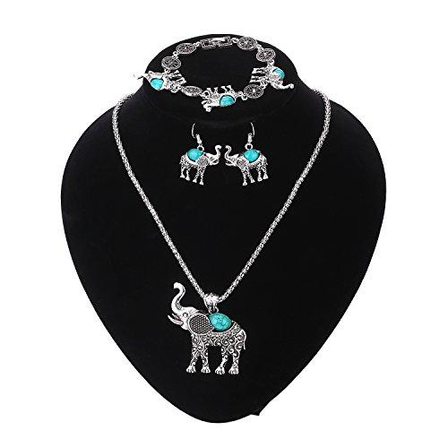Paxuan Elephant Turquoise Necklace Earrings