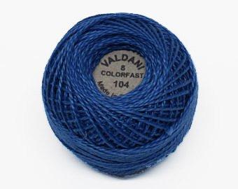(Valdani Perle Cotton Size 8 Embroidery Thread, 72 Yard Ball - 104 Deep Sapphire Blue)