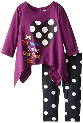Gerber Graduates Baby Girls' Heart Chic Long Sleeve Top and Black Printed Legging Set, Heart Chic, 12 Months