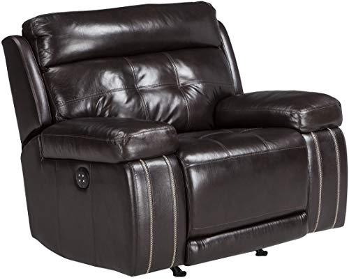 (Ashley Furniture Signature Design - Graford Leather Power Recliner w/Adjustable Headrest - Contemporary - Walnut)