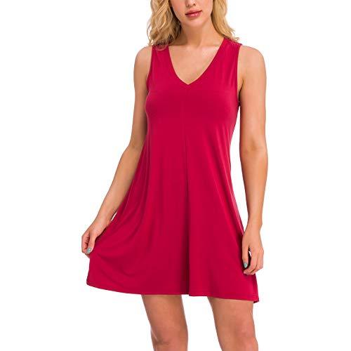 V-neck Tank Dress - juyee Summer Casual T Shirt Dresses Loose Sleeveless V Neck Tank Dress for Women Wine Red