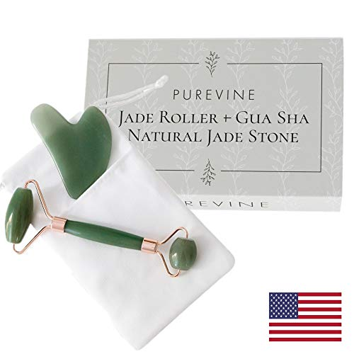 Jade Roller and Gua Sha Scraping Tool Kit - Anti Aging Beauty Facial Massage Set - 100% Natural Jade Stone - Face Lymphatic Drainage - Remove Wrinkles, Puffiness, Fine Lines