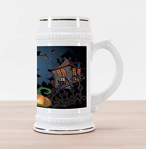 Ambesonne Halloween Beer Stein Mug, Gothic Halloween Haunted House Party Theme Design Trick or Treat Motifs Print, Traditional Style Decorative Printed Ceramic Large Beer Mug Stein, -